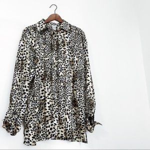 Vintage Spotted Animal Print Sheer Button …